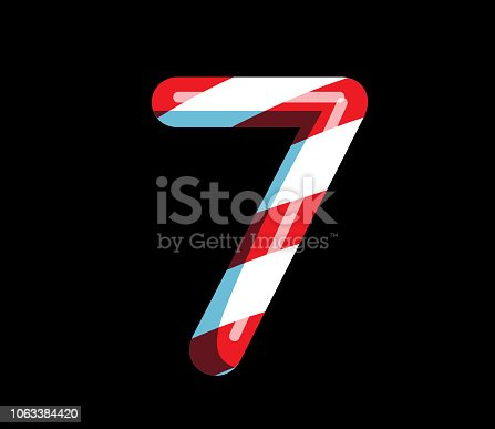 istock Candy Cane alphabet font design with red and white stripes Number 7 1063384420