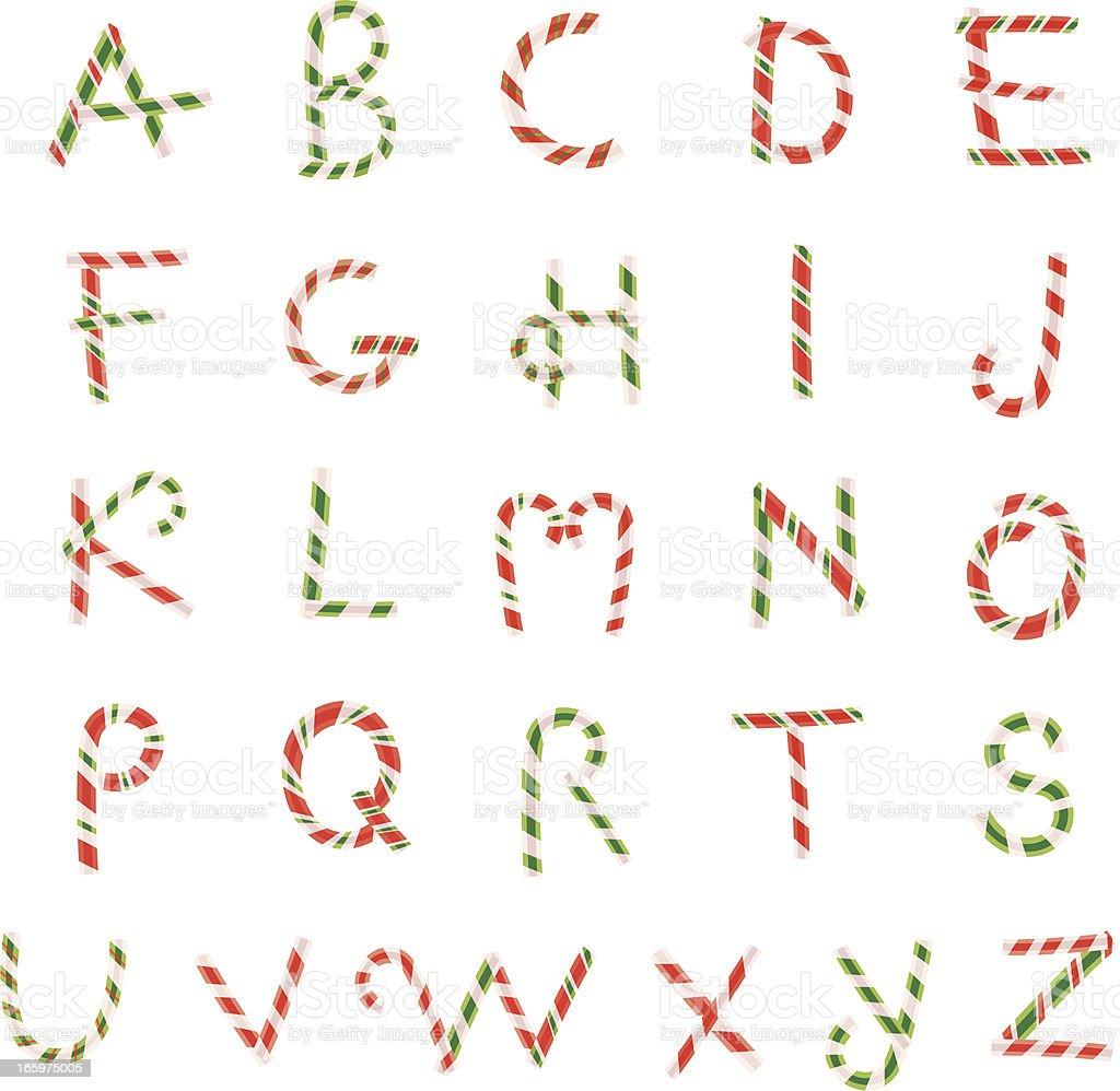 Candy Cane Alphabet vector art illustration