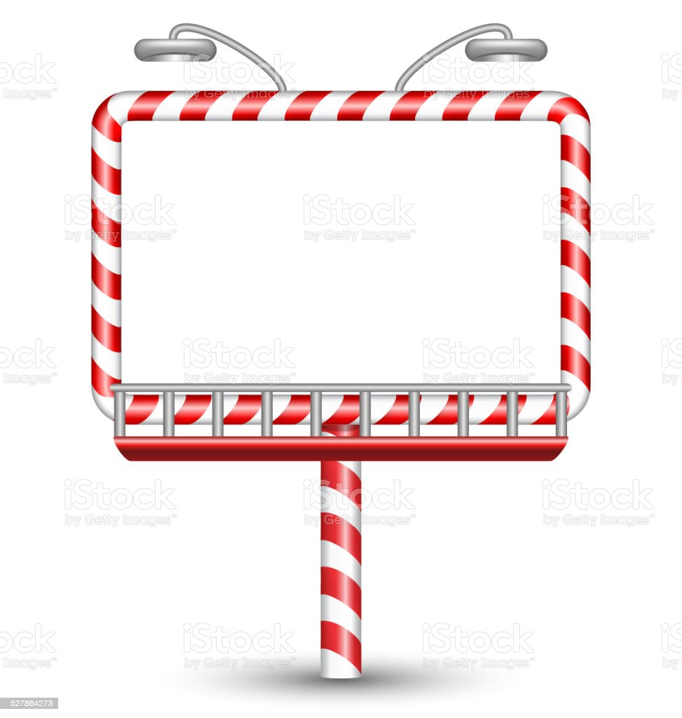candy cane billboard on white vector art illustration