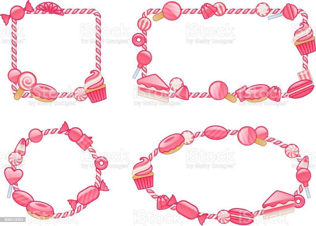 Candy cane border frames set. Vector illustration. vector art illustration