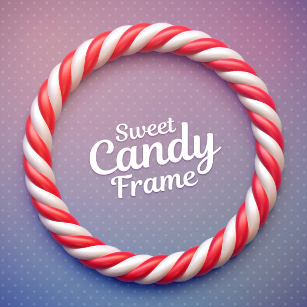 Candy cane circle frame Candy cane circle frame on polka dot background. Swirl hard candy round border with copy space candy borders stock illustrations