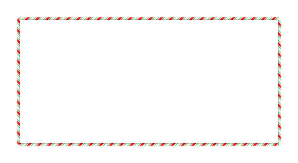 Candy cane frame border for christmas design isolated on white background Candy cane frame border for christmas design isolated on white background candy borders stock illustrations