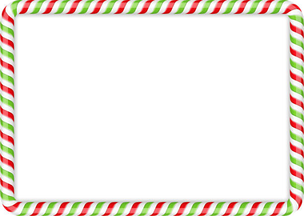 Candy Cane Frame Frame made of candy cane, red and green colors, vector eps10 illustration candy borders stock illustrations