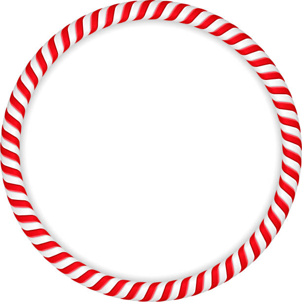 Candy Cane Frame Roudn frame made of candy canes, vector eps10 illustration candy borders stock illustrations