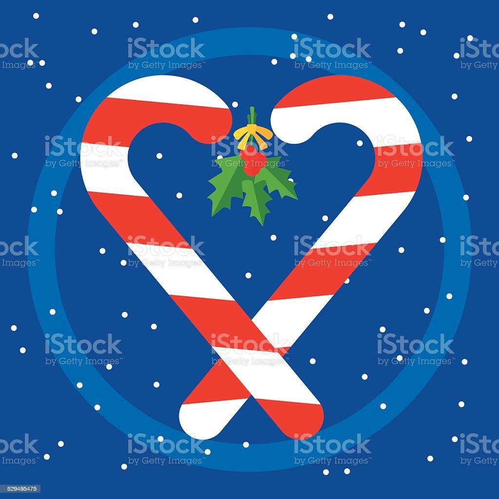 Candy Cane Heart vector art illustration