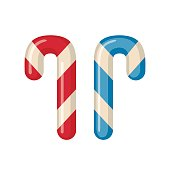 Candy cane icon in flat style isolated on white background. Vector illustration.