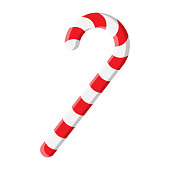 istock Candy cane illustration isolated on white background. Red lollipop with stripes. Peppermint stick. Christmas ornament symbol design. Vector cartoon clip art in eps 10 format. 1284701086