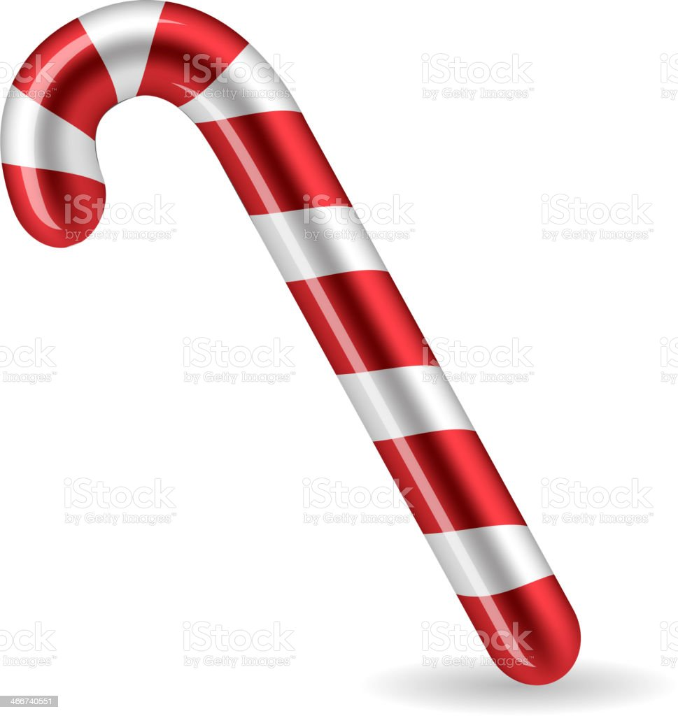Candy Cane isolated. Vector vector art illustration