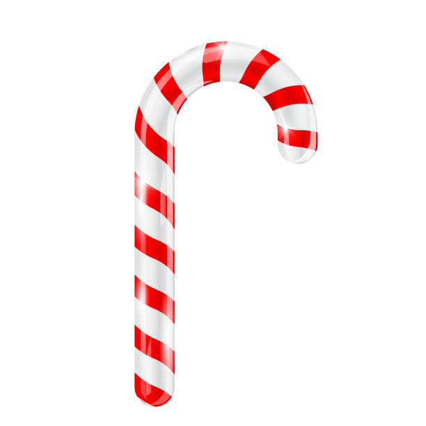 Candy cane. Red white striped 3d candy Candy cane. Red white striped 3d candy. Vector illustration isolated on white background candy silhouettes stock illustrations