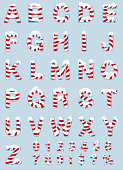 Vector illustration of a candy cane themed alphabet set with red and white stripes. Alphabet includes uppercase or captial letters, numbers, exclaimation mark, dollar sign, question mark and percentage sign. Snow and ice on top surfaces of letters. Download includes Illustrator 8 eps, high resolution jpg and png file.