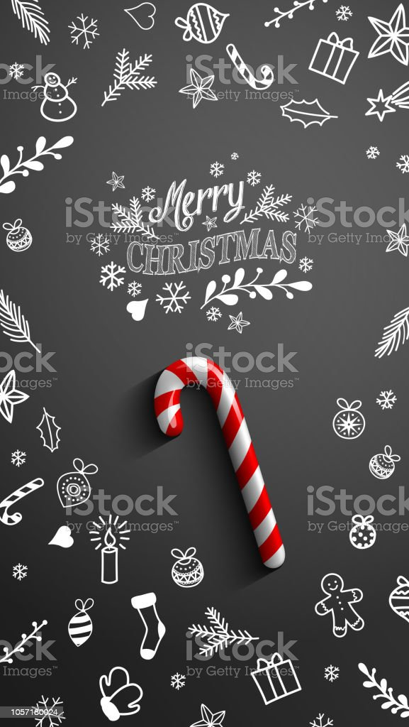 candy cane with chalk doodles on black background vector id1057180024