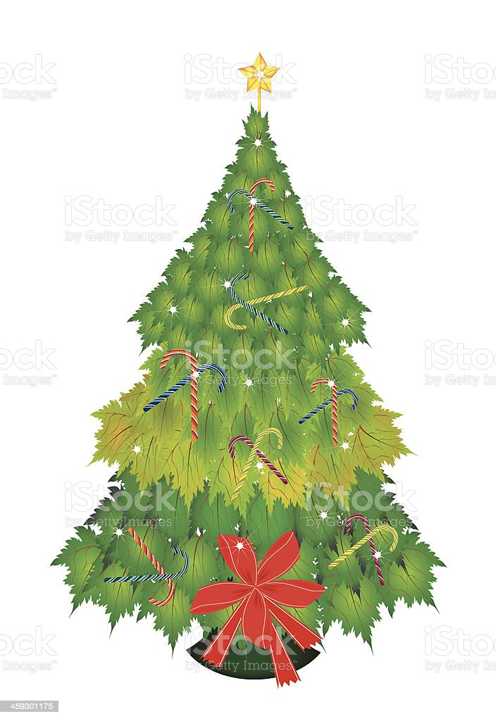Candy Canes and Bow on Christmas Tree of Green Maple royalty-free stock vector art