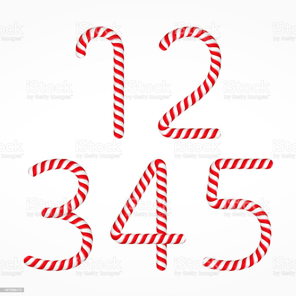 Candy Canes Numbers vector art illustration