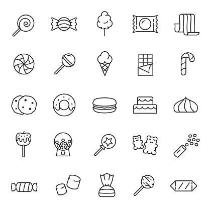 Candy, confectionery,linear icon set. Confections, sweets, sweet pastries. Editable stroke
