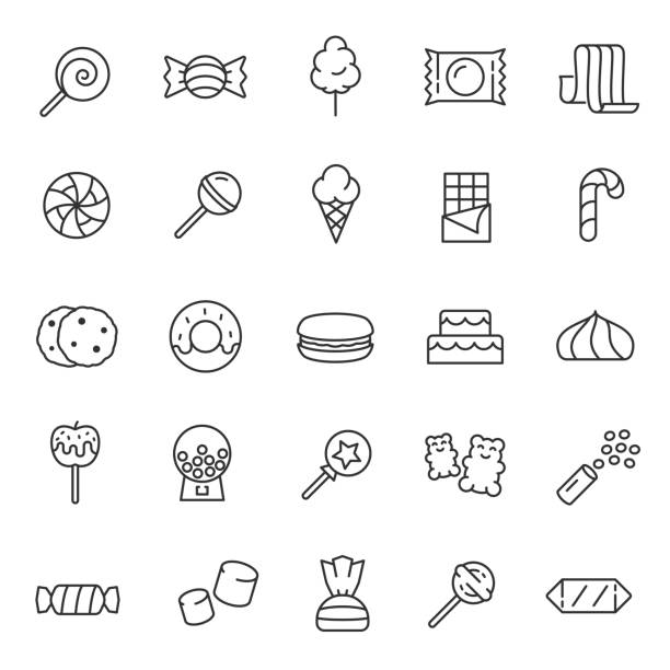 Candy, confectionery,linear icon set. Confections, sweets, sweet pastries. Editable stroke Candy, confectionery, icon set. Confections, sweets, sweet pastries, linear icons. Line with editable stroke candy icons stock illustrations