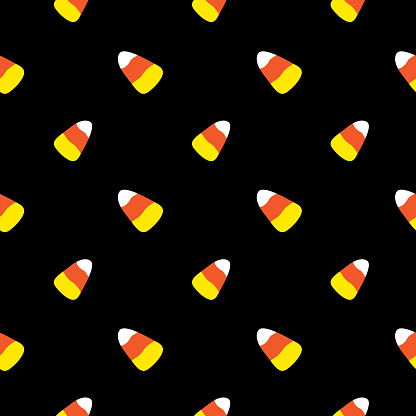 Candy Corn Halloween Candy Seamless Pattern