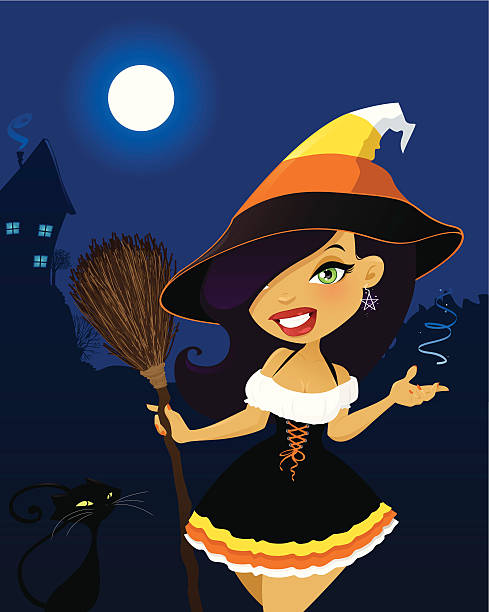 Candy Corn Witch vector art illustration