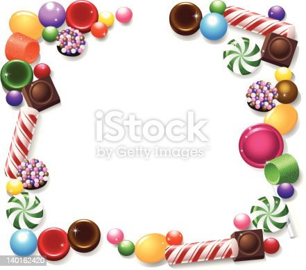Peppermints, chocolates, butterscotch and more hard candies make up a frame or copy space for your text.
