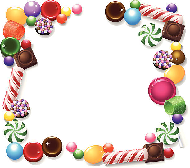 Candy Frame Peppermints, chocolates, butterscotch and more hard candies make up a frame or copy space for your text.  gum drop stock illustrations