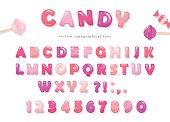Candy glossy font design. Colorful pink ABC letters and numbers. Sweets for girls. Vector