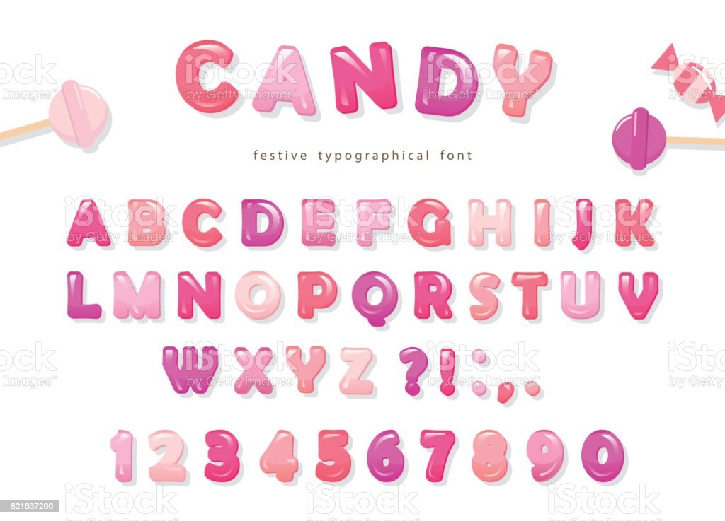 Candy glossy font design. Colorful pink ABC letters and numbers. Sweets for girls. vector art illustration