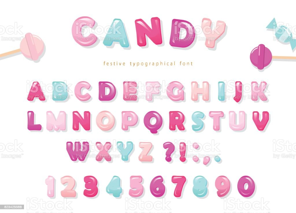 Design de polices brillant Candy. Pastel Rose et bleu lettres ABC et chiffres. Bonbons pour les filles. - Illustration vectorielle