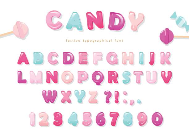 candy glossy font design. pastel pink and blue abc letters and numbers. sweets for girls. - bubble fonts stock illustrations