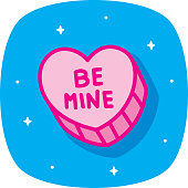 Vector illustration of a hand drawn pink candy heart against a blue background.