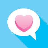 Vector illustration of a white speech bubble with a pink candy heart on a blue background.