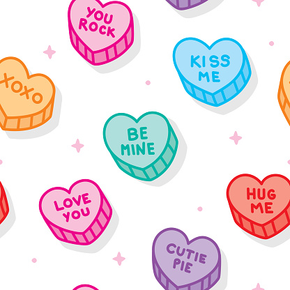 Vector illustration of multi-colored candy hearts in a repeating pattern against a white background.