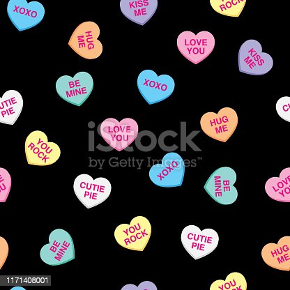 Vector illustration of candy hearts in a repeating pattern against a black background.