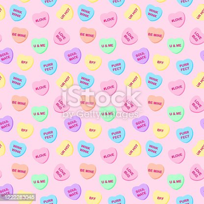 istock Candy Hearts Seamless Pattern 1222283045