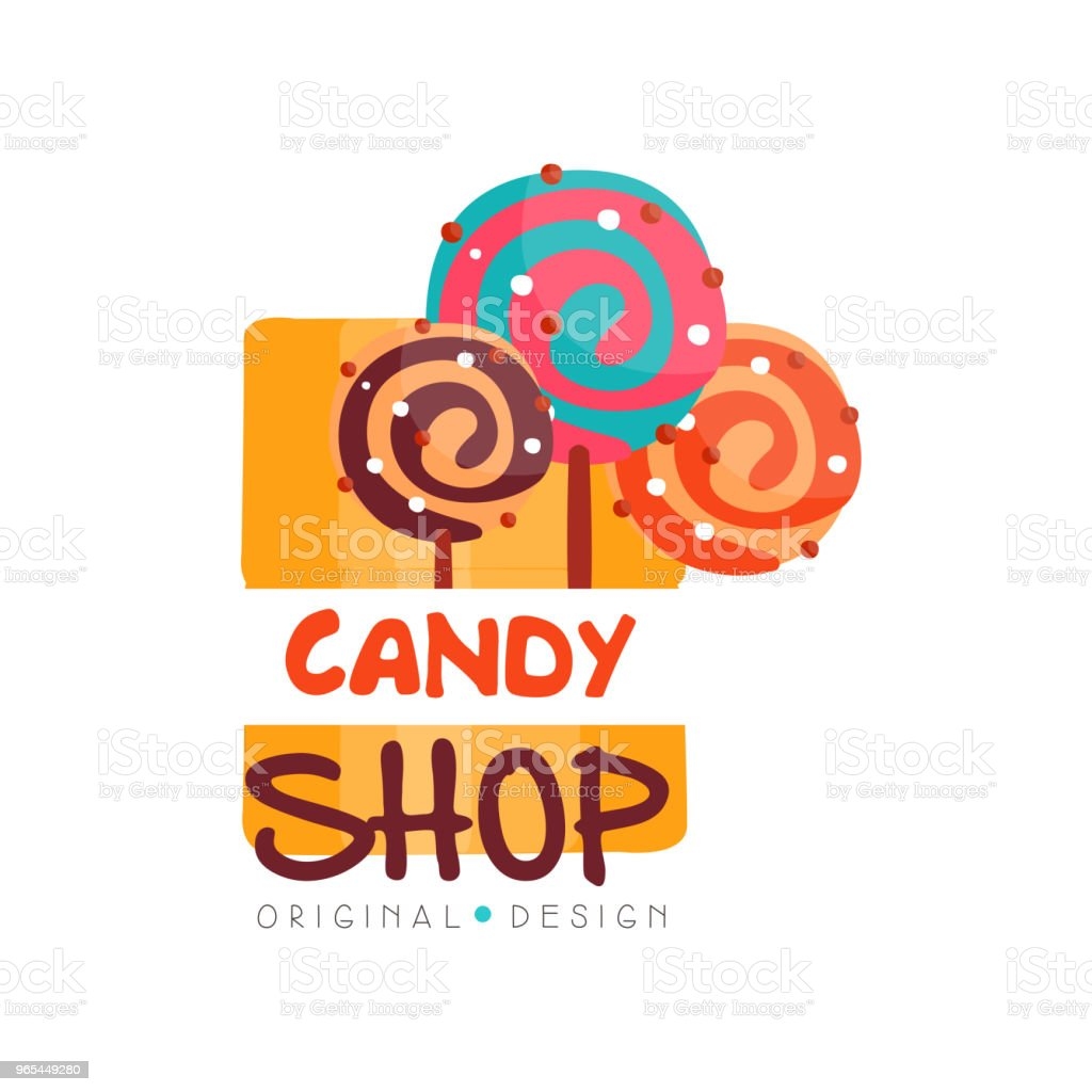 Candy hop logo design template, sweet store badge vector Illustration on a white background royalty-free candy hop logo design template sweet store badge vector illustration on a white background stock vector art & more images of art