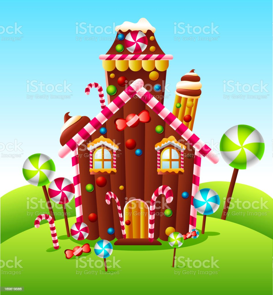 Candy house on green hill vector art illustration