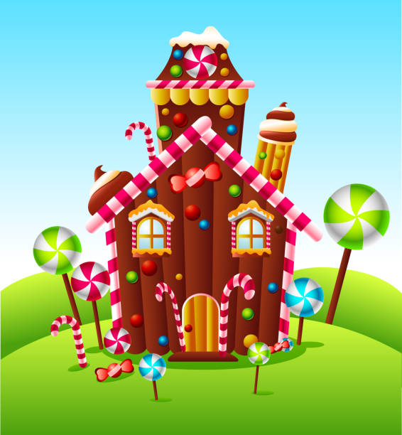 candy house am green hill - lebkuchenhaus stock-grafiken, -clipart, -cartoons und -symbole