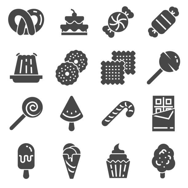 candy ikone set. 16 bonbons für webdesign - wackelpuddingkekse stock-grafiken, -clipart, -cartoons und -symbole