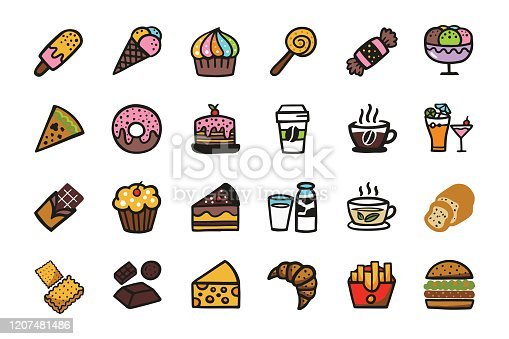 Hand Drawn: Candy sweetmeat caramel  icon Set. Doodle cartoon cute Icons.