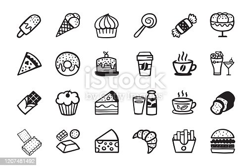 Hand Drawn: Candy sweetmeat caramel  icon Set. Doodle cartoon cute Icons. Black and white line.