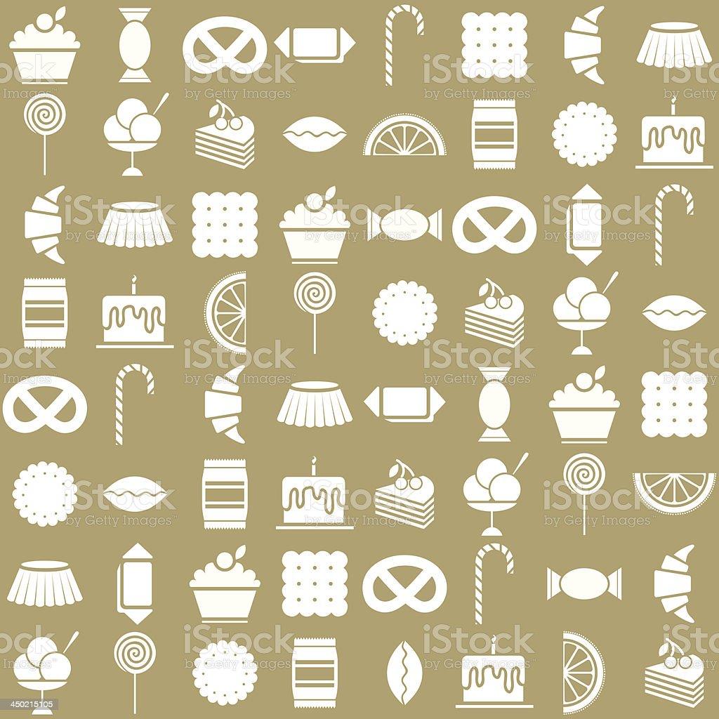 candy icons set. Beige background vector art illustration