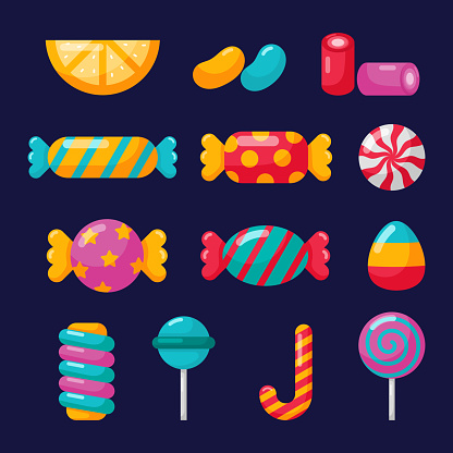 candy icons set with different types isolated on blue background for cafe or restaurant. illustration vector.