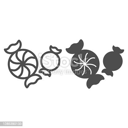 istock Candy line and solid icon, Christmas and New Year concept, holiday sweets sign on white background, delicious treats for kids icon in outline style for mobile concept. Vector graphics. 1285390133