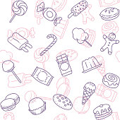 Simple candy line art icon seamless wallpaper pattern.