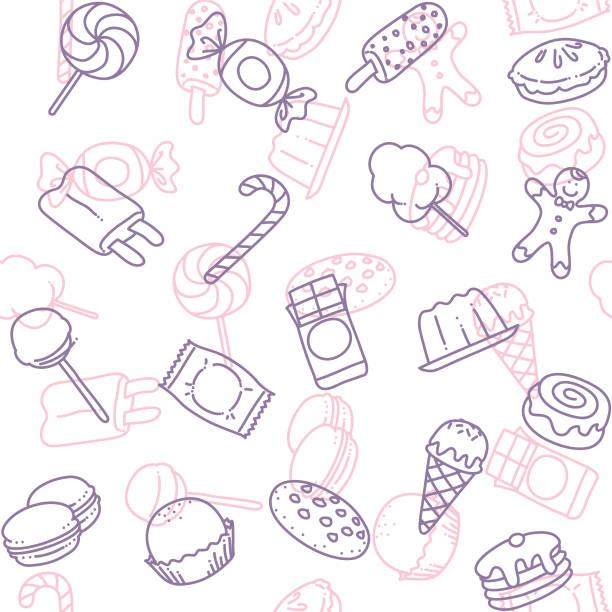 candy kunst symbol nahtlose tapete linienmuster - wackelpuddingkekse stock-grafiken, -clipart, -cartoons und -symbole