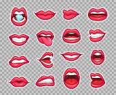 Candy lips patches. Vintage 80s fashion cartoon stickers with girl showing tongue smiling and diamond bitten lip with retro cherry sexy red lipstick makeup. Sticker patch isolated vector icon set