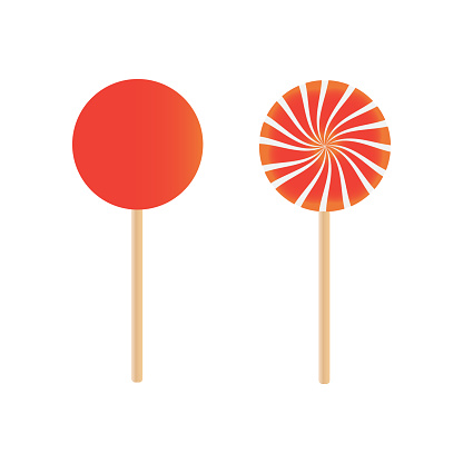 Candy lollipops vector. Sweet sugar candy stick