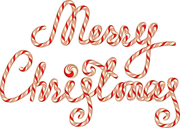 ilustrações de stock, clip art, desenhos animados e ícones de doces de natal feliz lettering, isolado no fundo branco. - lian empty