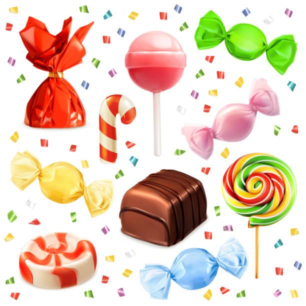 Candy set, vector icons Candy set, vector icons candy stock illustrations