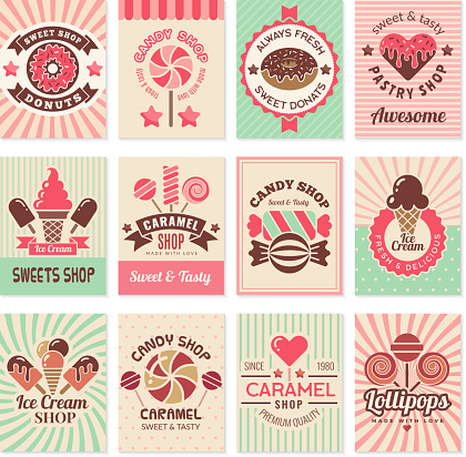 Candy shop cards. Sweet food desserts confectionary symbols for restaurant menu vector flyer collection