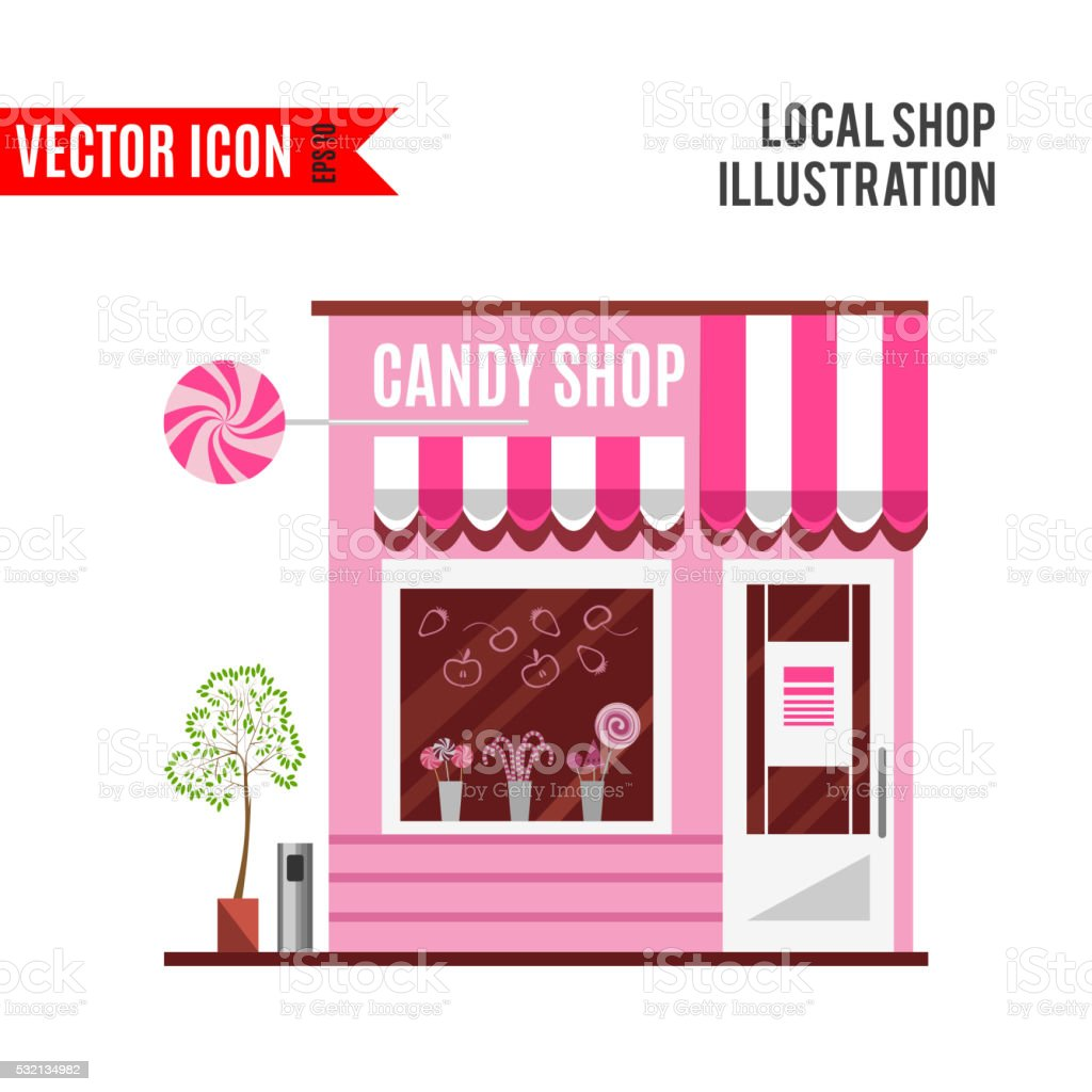 Candy Shop In A Pink Color Flat Vector Design Stock Vector Art ...
