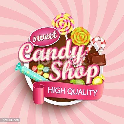 Candy shop label or emblem for your design. Vector illustration.